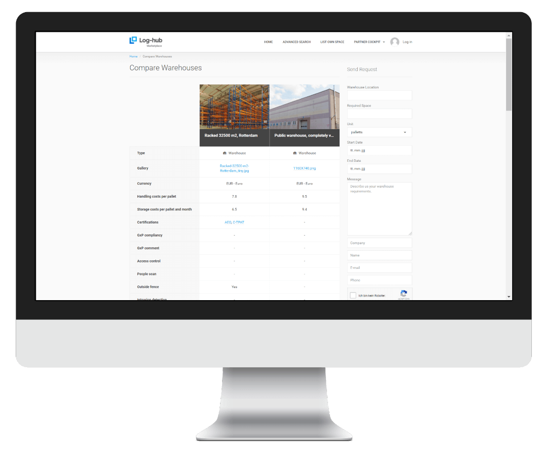 Log-hub, Warehouse Marketplace, On-Demand Warehousing, Warehouse Comparison