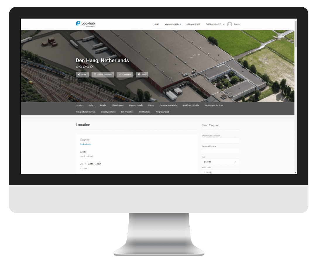 Log-hub, Warehouse Marketplace, On-Demand Warehousing, Warehouse Details