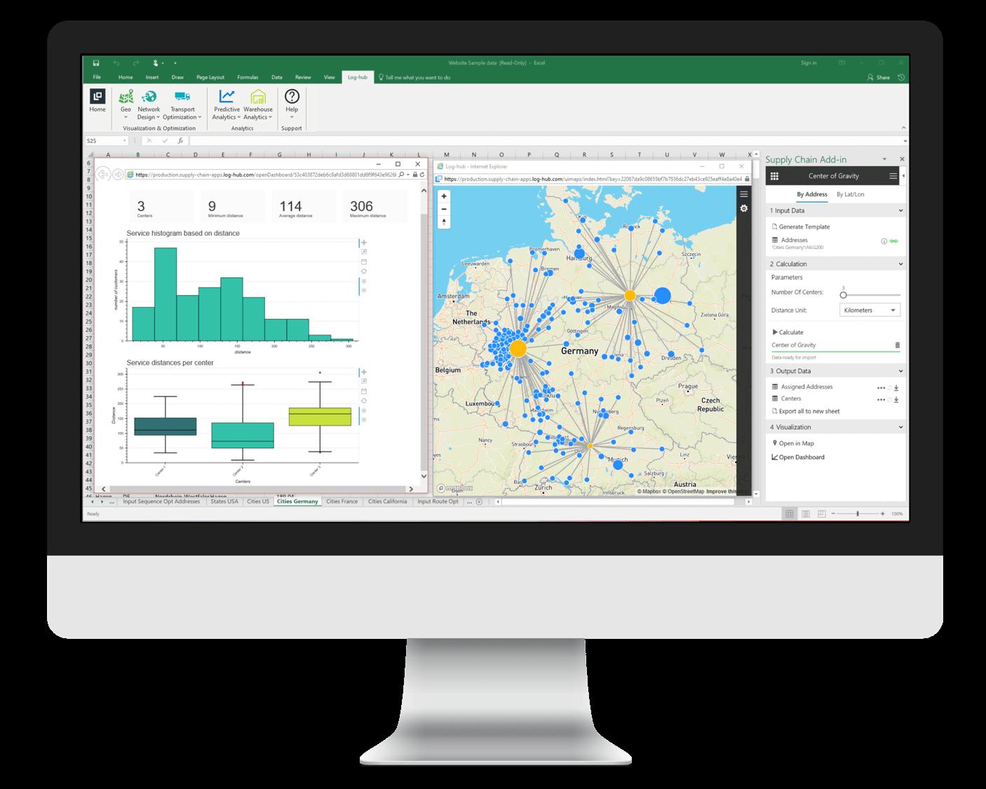 Log-hub, Supply Chain Apps, Center of Gravity App, Network Design, Locations Planning, Scenario Simulation, Microsoft Excel