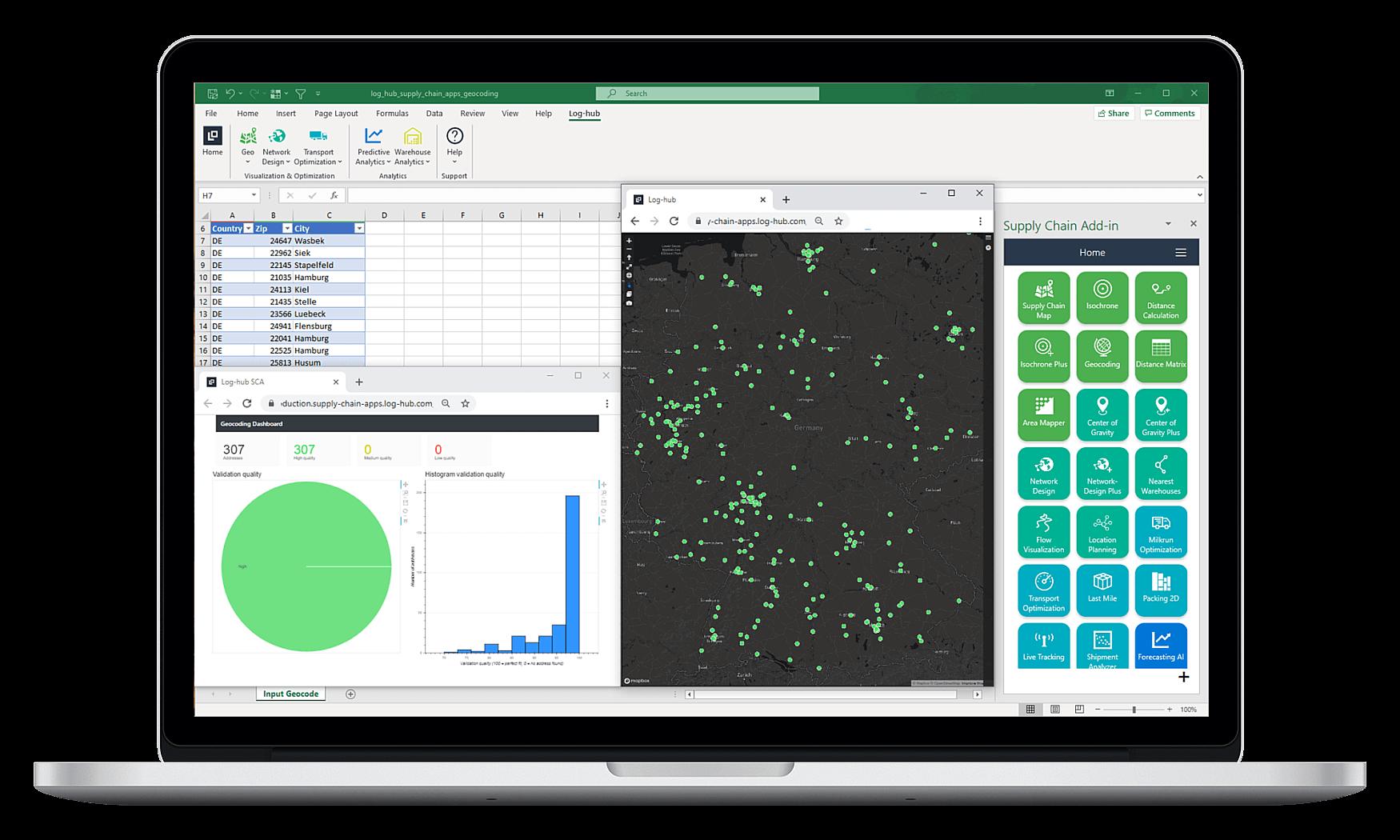 Log-hub Supply Chain Apps, Geocoding