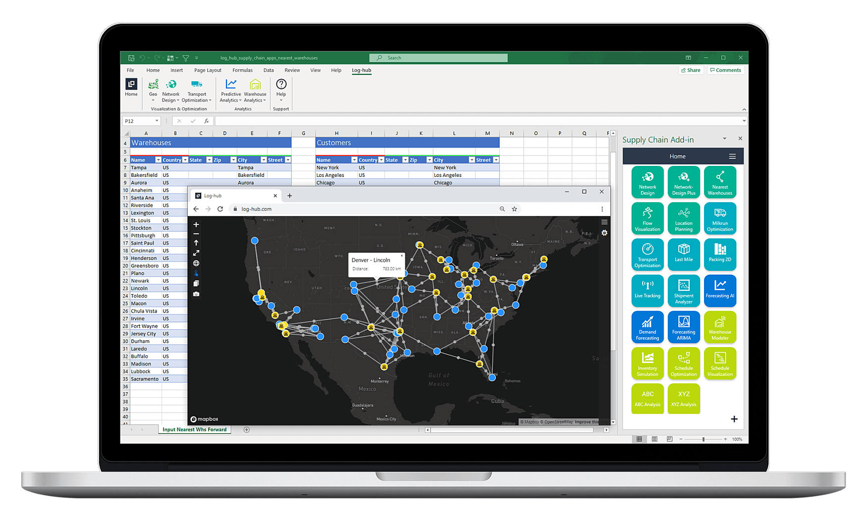 Log-hub Supply Chain Apps, Nearest Warehouses