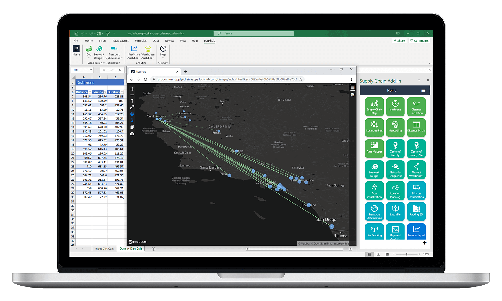 Log-hub Supply Chain Apps, Distance Calculation